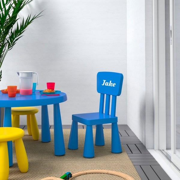 kinderstoeltje met naam blauw