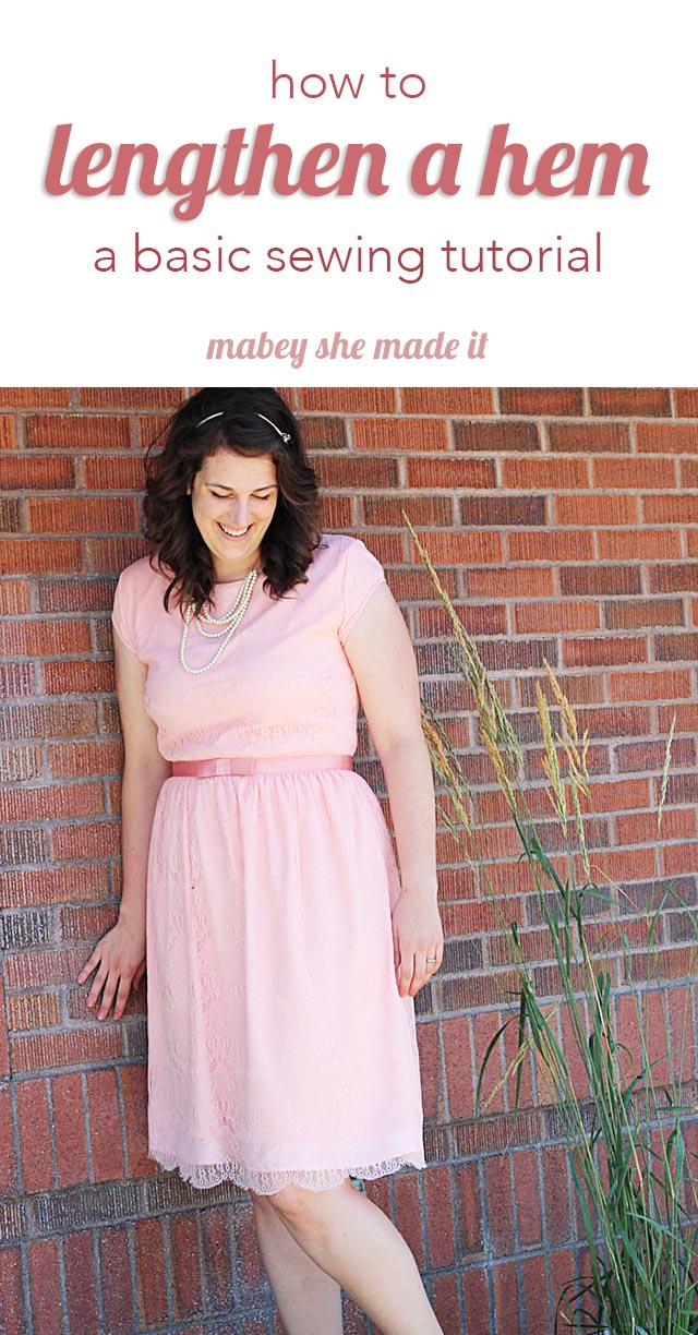Basic tutorial for lengthening a dress hem from Mabey She Made It.