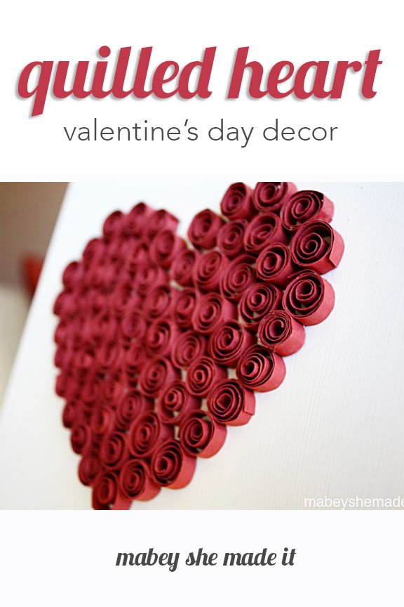All you need is some red paper and a white background to make this beautiful quilled heart decor perfect for Valentine's Day.