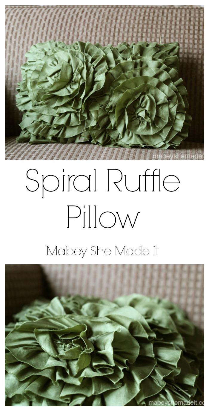 Spiral Ruffle Pillow | Mabey She Made It | #ruffle #pillow #homedecor #falldecor #fallcrafts #pieroneknockoff