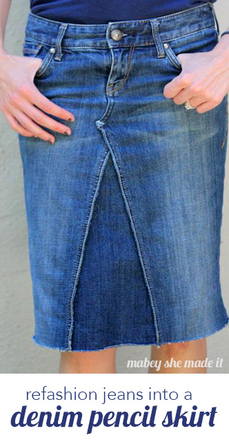 73a8bceccd How to Make a Skirt Out of Jeans • Mabey She Made It