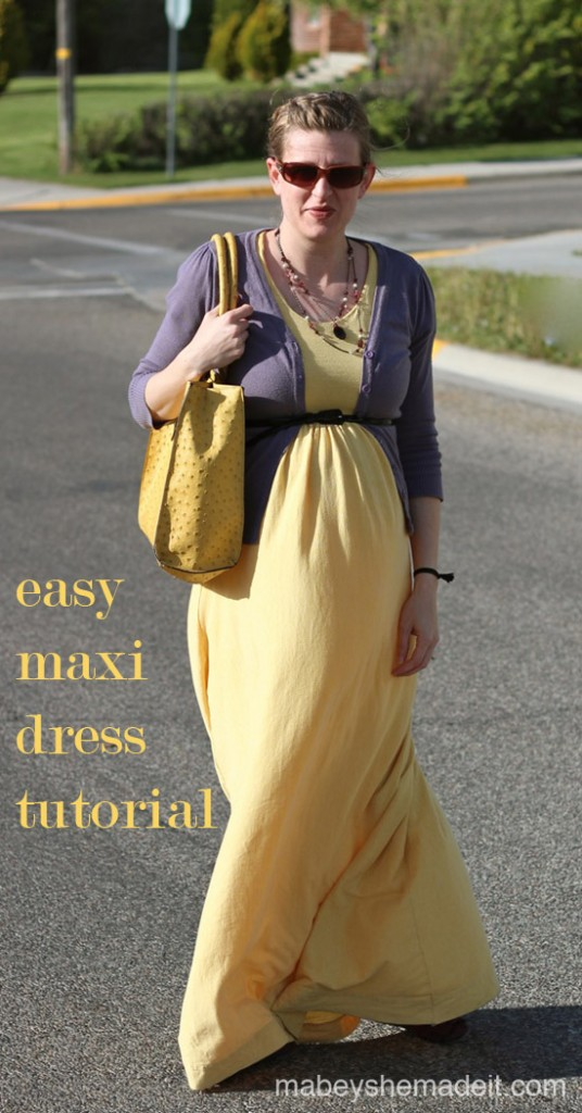 Maxi Dress Tutorial | Mabey She Made It | #maxidress #tutorial #upcycle #maternity
