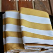 DIY White and Gold Striped Napkins