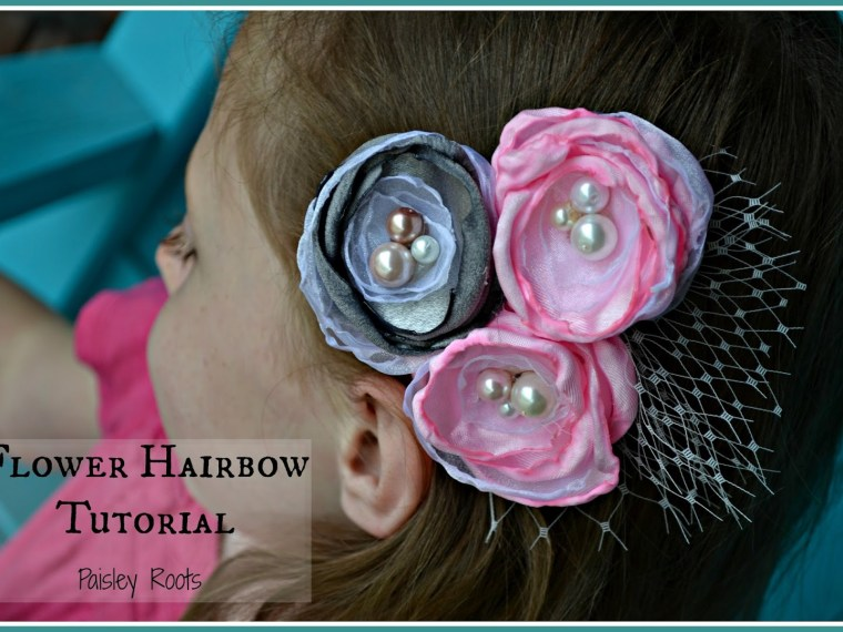 Flower Hairbow Tutorial by Paisley Roots | Mabey She Made It | #flower #hairbow #tutorial #diy #hairaccessories
