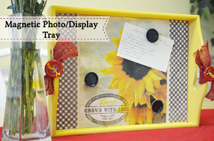 Magnetic Photo Display Tray by My Daylights | Mabey She Made It | #magnetic #photodisplay #recipeholder