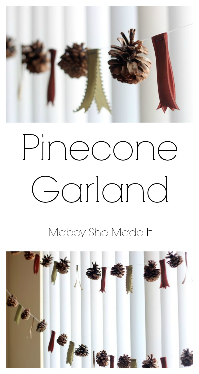 Simple and FREE Pinecone Garland | Mabey She Made It | #pineconegarland #pineconecrafts #pinecone #garland #autumn, #fall #falldecorations #falldecor #autumndecor