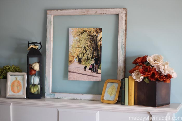 Coastal Fall Mantel | Mabey She Made It | #falldecor #fallmantel #autumn #autumndecor #repurposedwindow #watercolor