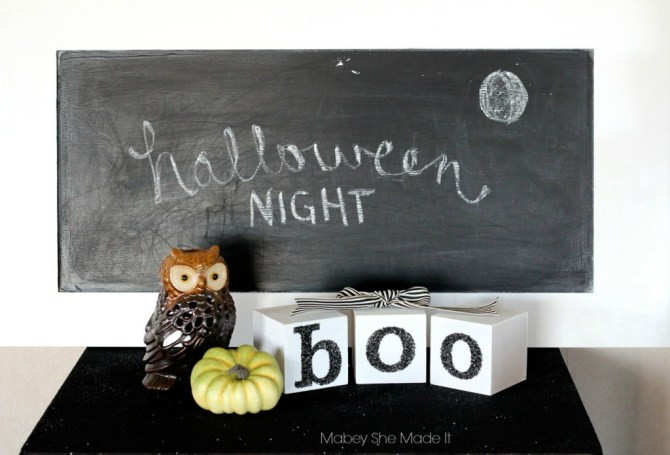 Halloween Boo Blocks | Mabey She Made It | #halloween #blocks #boo #glitter