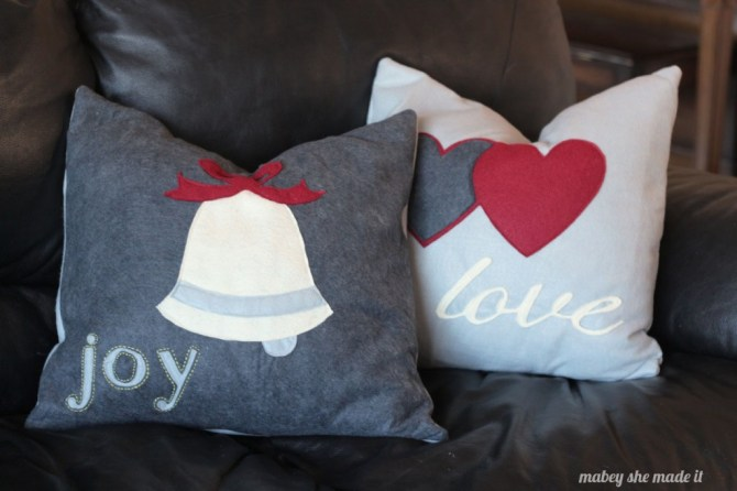 How to Make Christmas Pillow Shams | Mabey She Made It | #christmas #pillowsham #homedecor #pillow