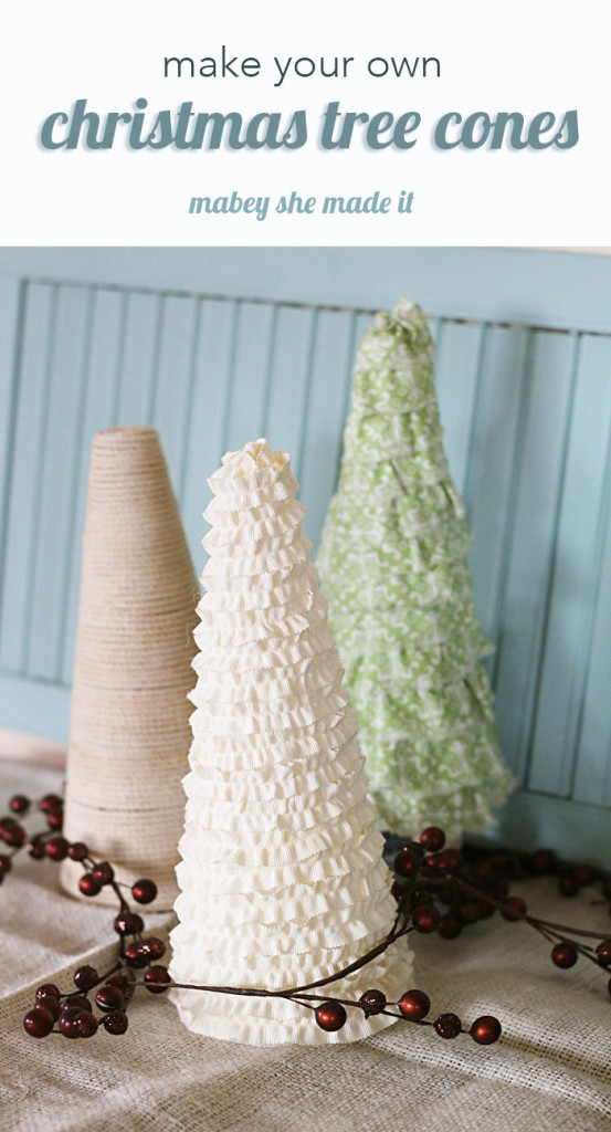 Make these cute Christmas tree cones with foam cones and things you have around the house.