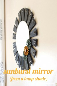 This gorgeous sunburst mirror used to be a lamp shade! Click through to see the transformation and make one yourself.
