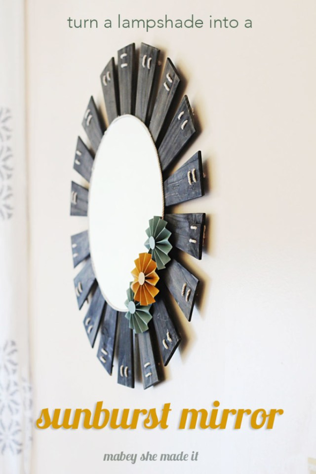 Upcycled wood makes this sunburst mirror shine and its pretty simple to do!