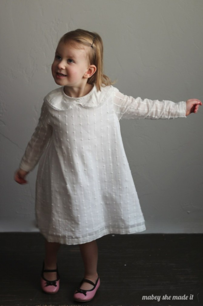 Norah Dress Upcycled from a Sheet | Mabey She Made It | #sewing #sewingforkids #upcycle #refashion #sheet