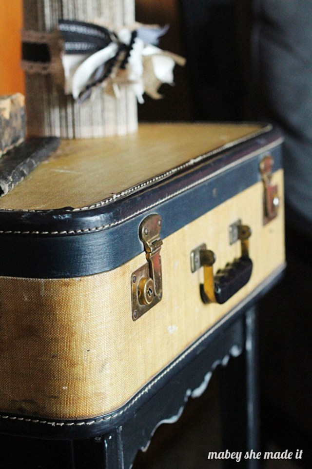 Turn a gorgeous vintage suitcase into a show-stopping side table.