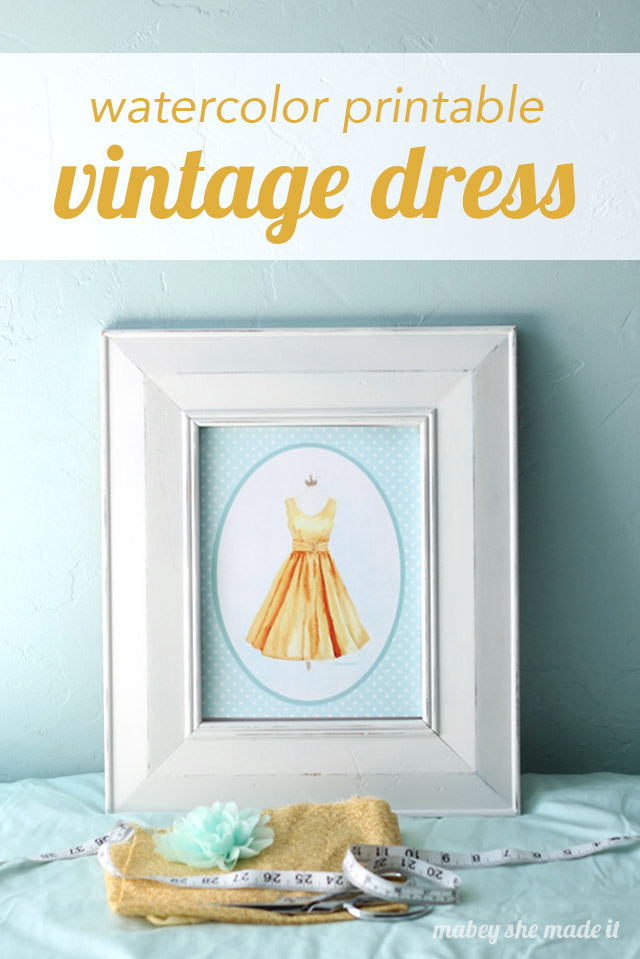 Oh how I love this! This vintage dress watercolor printable makes me want a dress just like it.