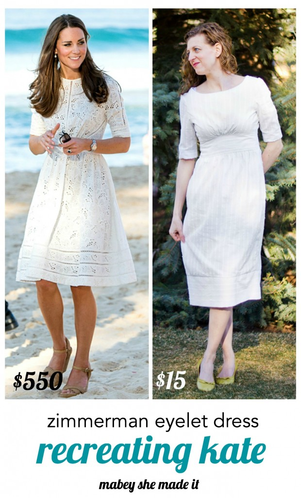 Create this beautiful white dress inspired by the Zimmerman dress Kate Middleton wore in Australia last year. See the details and alterations made to the Simplicity pattern for the Recreating Kate series.