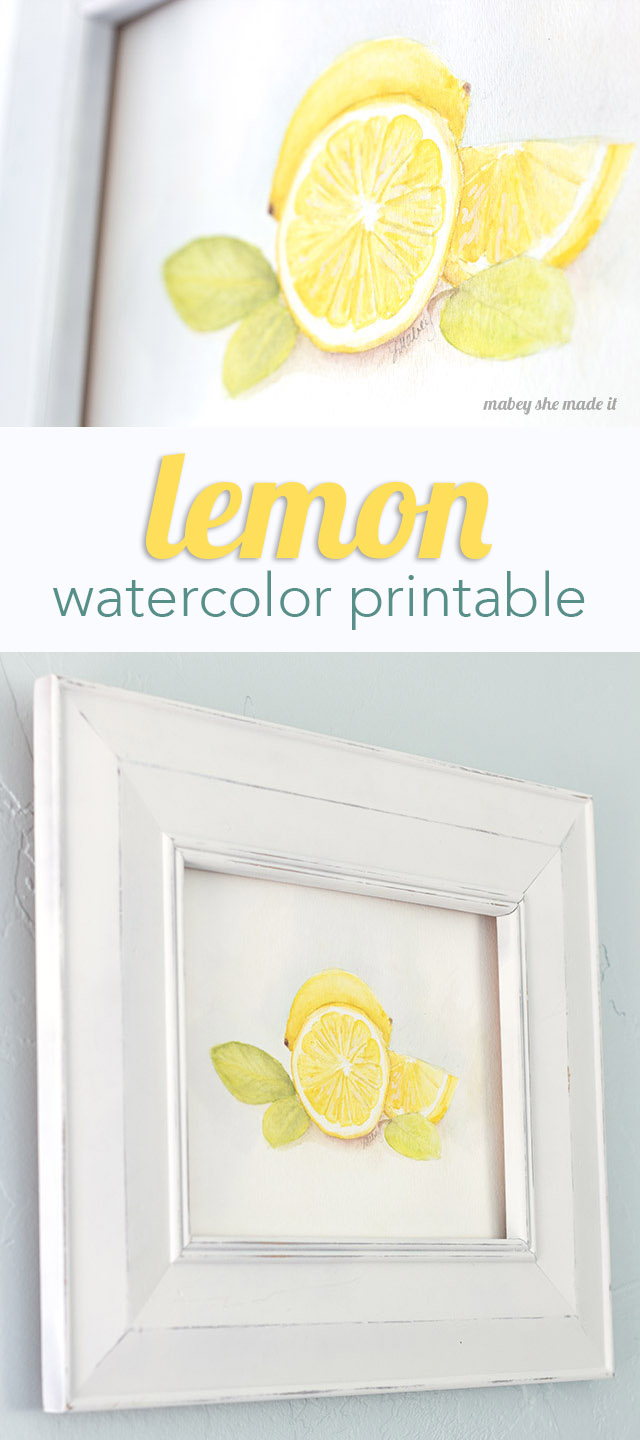 Download this lemon watercolor printable from Mabey She Made It