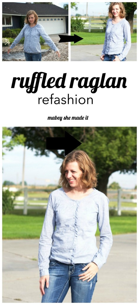 Turn a peasant type raglan into a fitted shirt with this clothing refashion. Ruffled Raglan Refashion by Mabey She Made It