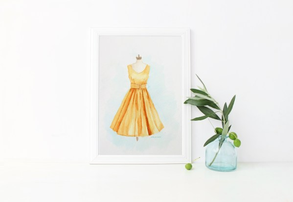 Mustard Yellow Dress watercolor printable for purchase