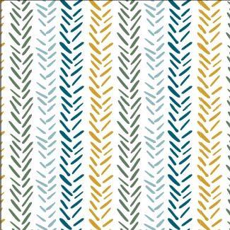 Teal Herringbone Print
