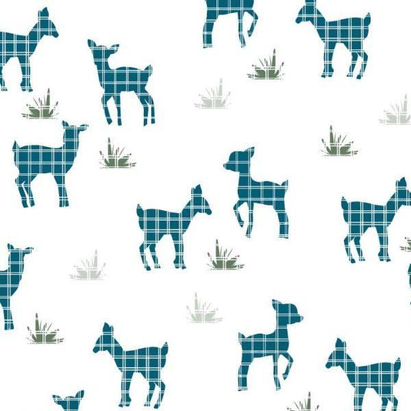 Windowpane Deer teal print available at Raspberry Creek Fabrics