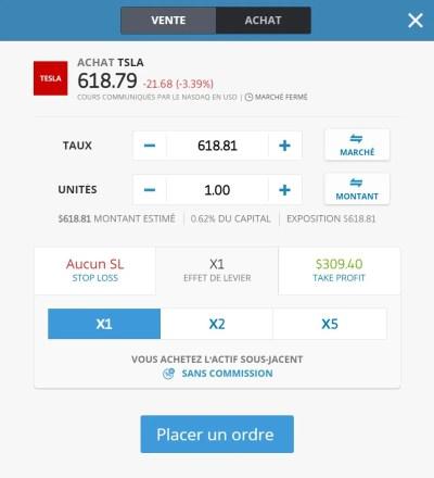 Plateforme trading eToro - Ordre achat CFD action Tesla sans levier