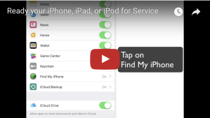Ready your iPhone, iPod, or iPad for service
