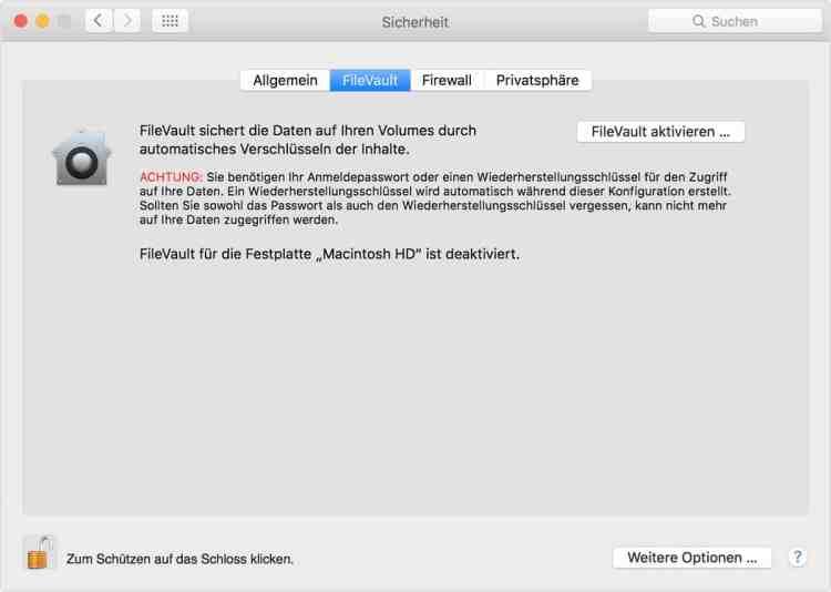 FileVault: Verschlüsselung der Festplatte des Mac – Systemeinstellungen Fenster
