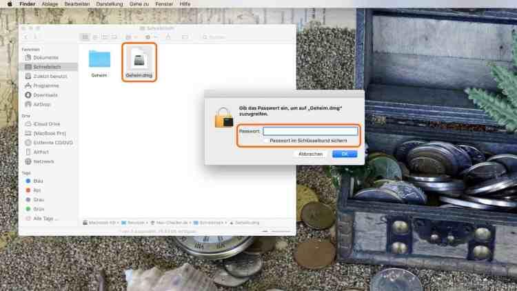 Das Image erscheint in Form einer DMG-Datei, die beim Öffnen mit dem Passwort entsperrt werden muss