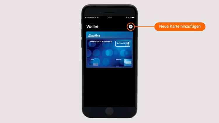 Auf das Plus oben rechts tippen, um eine neue Bankkarte zu Apple Pay hinzuzufügen