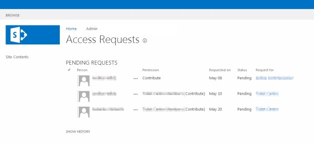 Access Requests Sharepoint