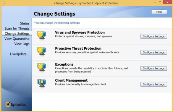 Symantec Endpoint Protection windows