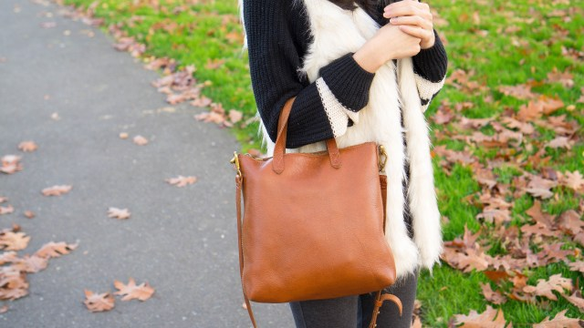 faux fur vest madewell bag (1 of 1)