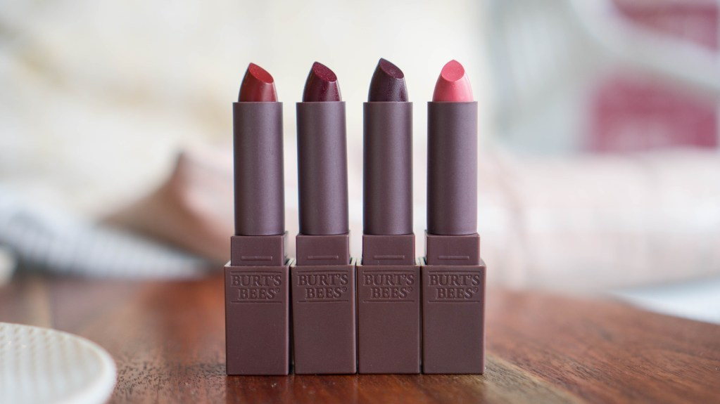 Burt's Bees Lipsticks: Crimson Coast, Wine Wave, Doused Rose, Orchid Ocean
