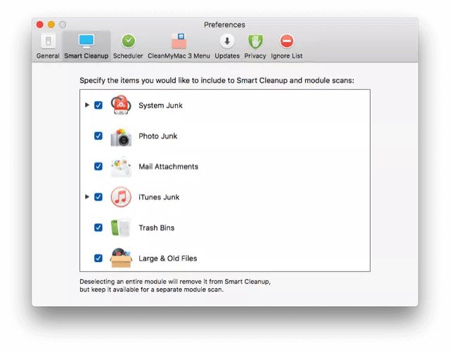 CleanMyMac preferences