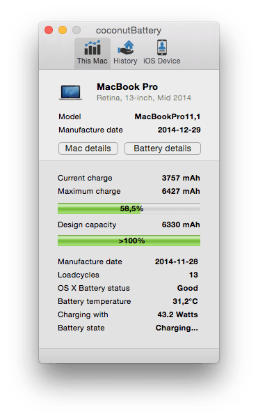 MacBook batterie coconutbattery