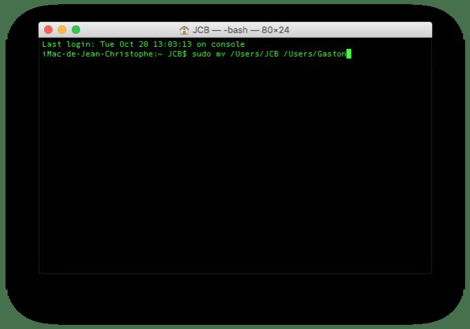 modifier le nom du compte de son mac terminal