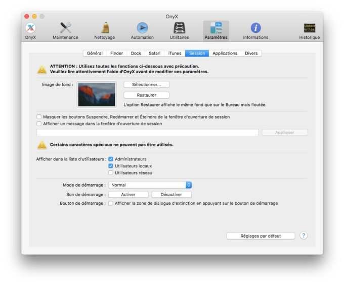demarrer un MacBook en silence onyx