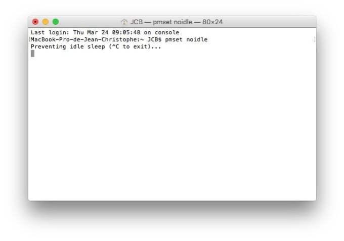 Desactiver la mise en veille d'un MacBook pmset noidle
