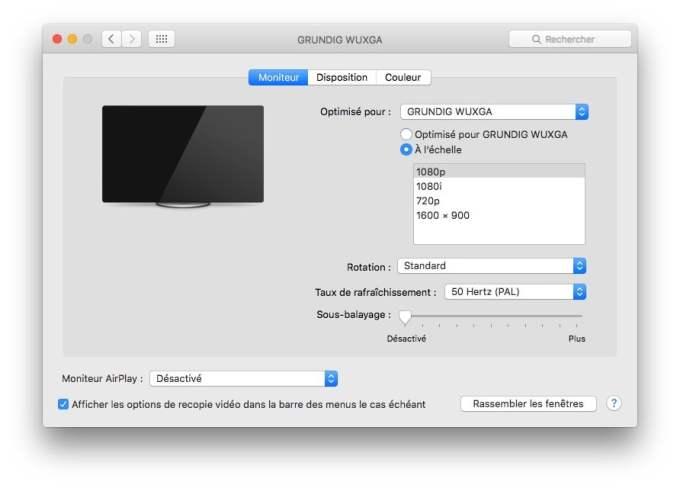 connexion macbook television tv hd 1080p