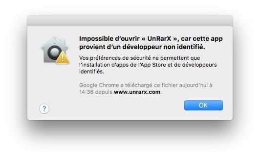 Ouvrir les Apps non identifiees sur macOS Sierra unrarx
