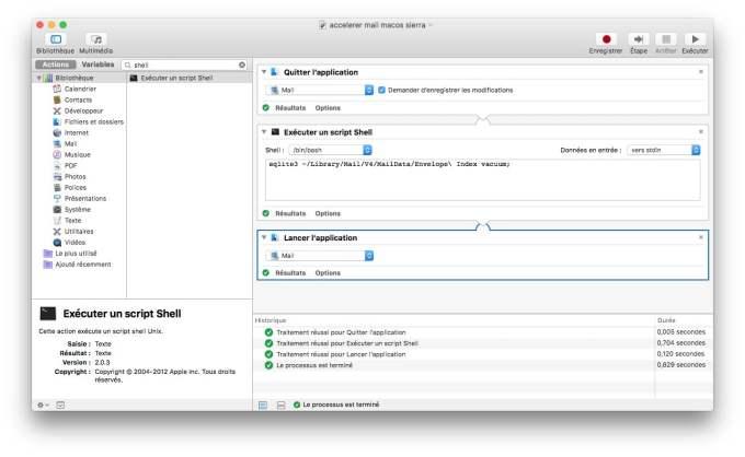 accelerer apple mail mac os sierra lancer script