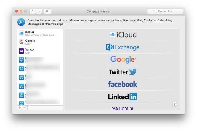 Configurer un compte Apple Mail comptes internet