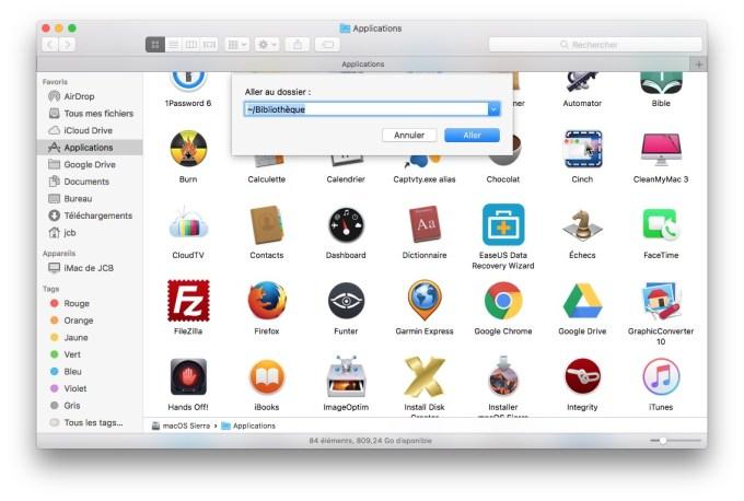 Reinitialiser Safari Mac dossier bibliotheque