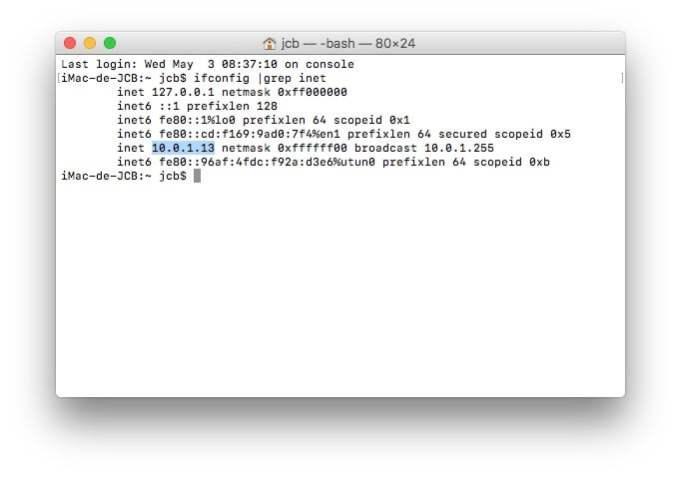 Trouver son adresse IP sur Mac ifconfig