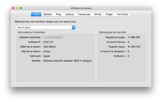 Trouver son adresse IP sur Mac utilitaire de reseau mac