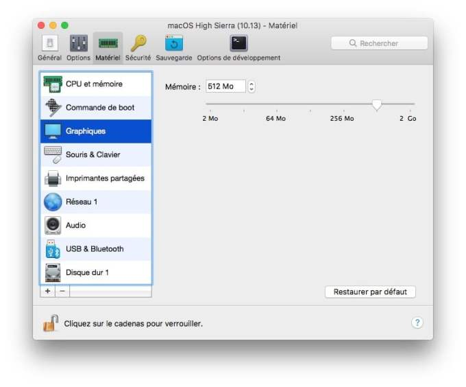 installer macOS High Sierra avec Parallels Desktop memoire video