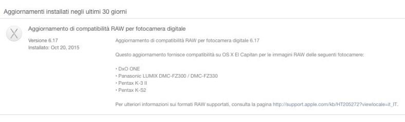 Aggiornamento di compatibilità RAW per fotocamera digitale in OS X El Capitan