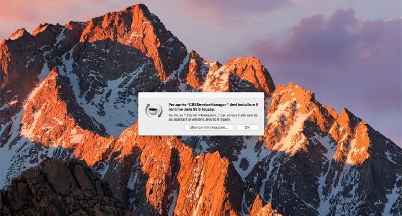 Errore macOS Sierra: installare runtime Java SE 6 legacy