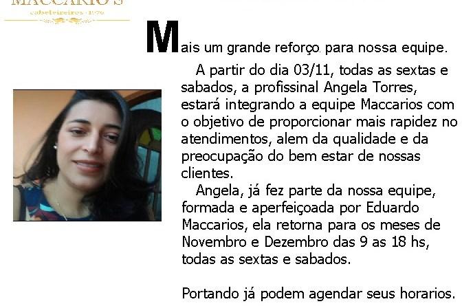 Angela Torres , reforça equipe Maccarios para final de ano.